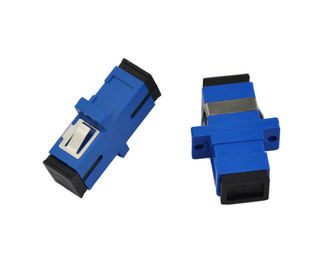 China Simplex Single Mode Fiber Optic Connector Adapters Blue Rectangle Low Concentricity Error supplier