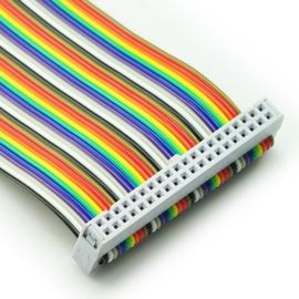 China 2.54mm Pitch 16 Pin PCI Flat Ribbon Cable Female to Female Rainbow Color factory