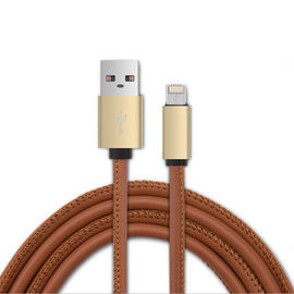 China PU Leather Micro USB Cable 2.4A Nylon Bradied Data Sync Function 4.2mm OD factory